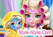 العاب السا مع بنتها مكياج تلبيس تنظيف بشرة
