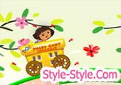 لعبة دورا عربة جمع الزهور