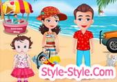العاب اطفال مع العائلة على الشاطئ