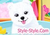 لعبة استحمام الكلب الابيض